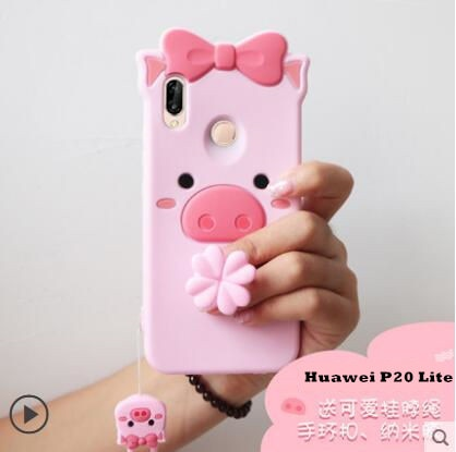 Huawei P20 Lite Case Silicon,3D Cartoon Lovely Pig Silicone Ring With Lanyard Phone Case For Huawei P20 Lite Cover