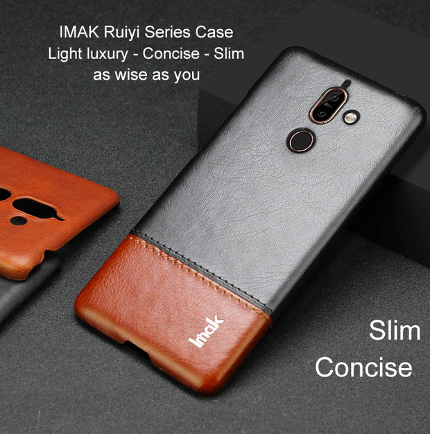 IMAK Brand Case For Nokia 7 Plus Ruiyi Series Light Luxury PU Leather Case Ultra-Slim Phone Cover