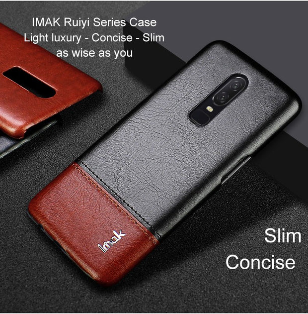 IMAK Brand Case For OnePlus 6 Cases Ruiyi Series Light Luxury PU Leather Ultra-Slim Phone Cover For One Plus 6