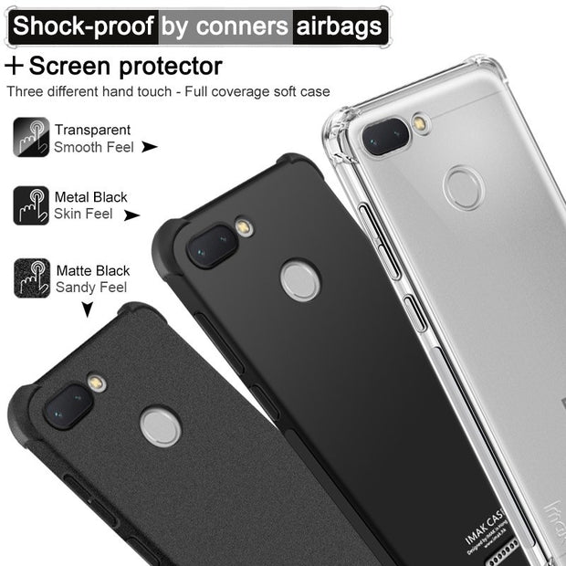 IMAK Brand Case For Xiaomi Redmi 6 6A 6 Pro Cases Shockproof Air-Bag Soft TPU Back Phone Cover, With Soft Explosion-Proof Film