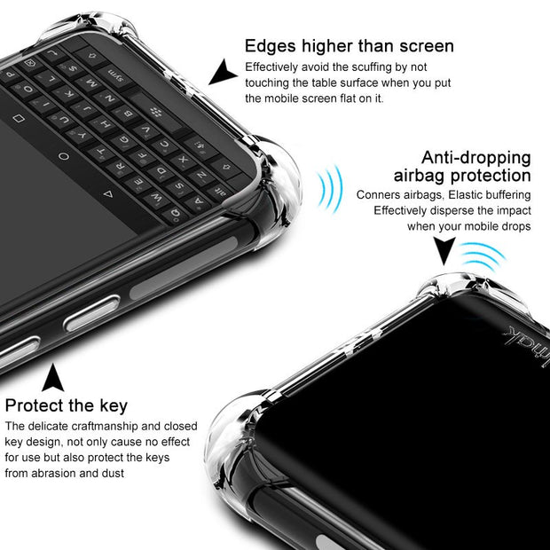 IMAK Brand For Blackberry Key 2 / Key Two Case Shockproof Air-Bag Soft TPU Back Phone Cases, With Soft Explosion-Proof Film