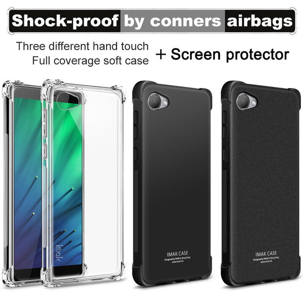 IMAK Brand For HTC Desire 12 Case Shockproof Air-Bag Soft TPU Back Cover Case For HTC Desire 12, With Soft Explosion-Proof Film