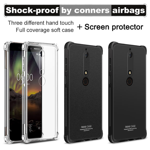 IMAK Brand For Nokia 6 2018 Case Shockproof Air-Bag Series Soft TPU Back Cover Cases, With Gift Soft Explosion-Proof Film