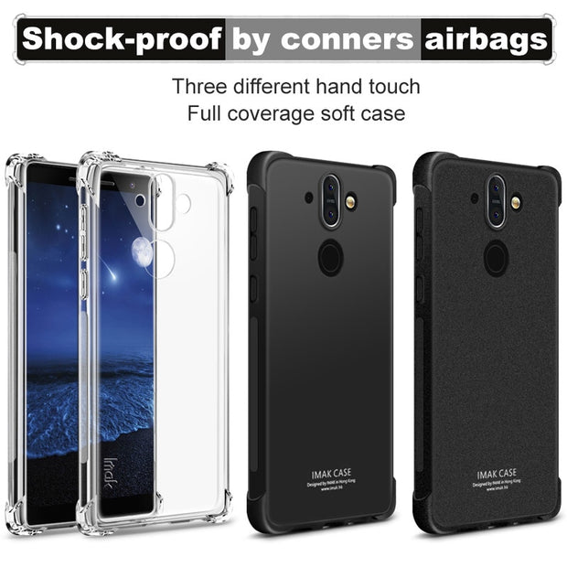 IMAK Brand For Nokia 8 Sirocco Case Shockproof Air-Bag Series Soft TPU Back Cover Cases, With Gift Soft Explosion-Proof Film