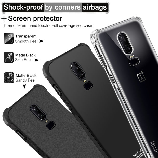 IMAK Brand For OnePlus 6 Case Shockproof By Corners Air-Bag Soft TPU Back Cover, With Gift Soft Explosion-Proof Film