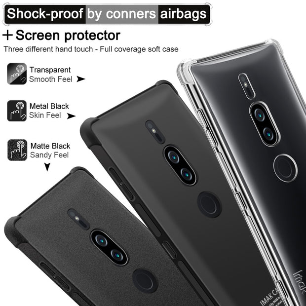IMAK Brand For Sony Xperia XZ2 Premium Case Shockproof Air-Bag Series Soft TPU Back Cover Cases, With Gift Explosion-Proof Film