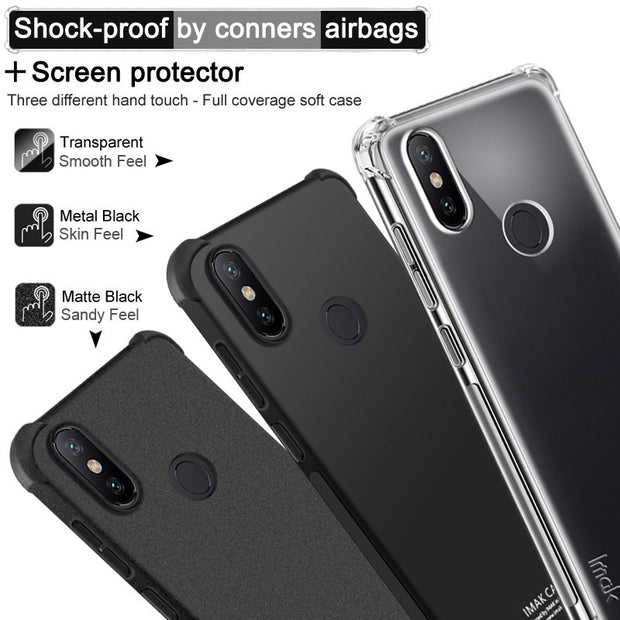 IMAK Brand For Xiaomi Mi 6X Case Shockproof Air-Bag Series Soft TPU Back Case For Xiaomi Mi A2, With Soft Explosion-Proof Film