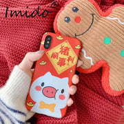 IMIDO Cute Pig Phone Case For IPhone XS XR XS Max Soft TPU Silicone Red New Year Phone Case For IPhone 6 7 8 Plus Case