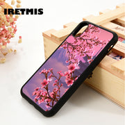 Iretmis 5 5S SE 6 6S Silicone Rubber Phone Case Cover For IPhone 7 8 Plus X Xs Max XR Flower Japan Sakura Cherry Blossoms Red