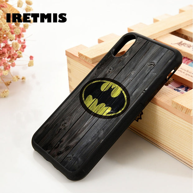 Iretmis 5 5S SE 6 6S Silicone Phone Case Cover For IPhone 7 8 Plus X Xs Max XR Batman Batman Logo DC Comics Justice League