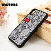 Iretmis 5 5S SE 6 6S Silicone Phone Case Cover For IPhone 7 8 Plus X Xs Max XR Elephant Emoji Funny Cartoon Cute Collage Doodle