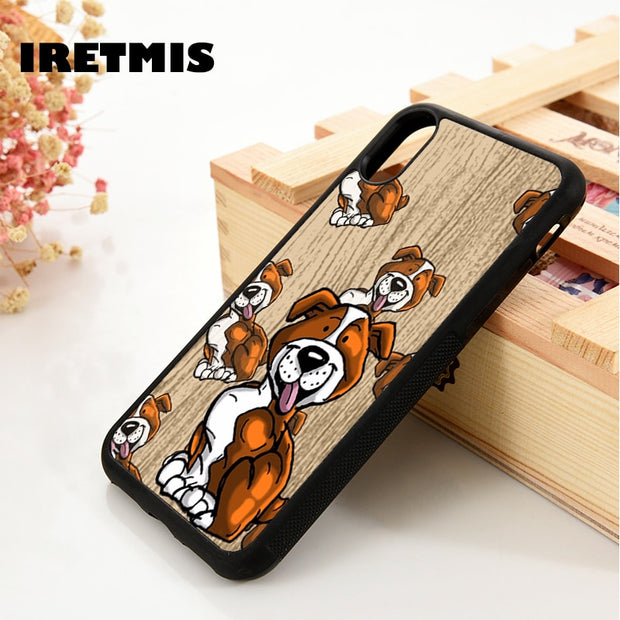 Iretmis 5 5S SE 6 6S Silicone Phone Case Cover For IPhone 7 8 Plus X Xs Max XR Staffy Dog Puppy Cute Cartoon Staffies Puppies