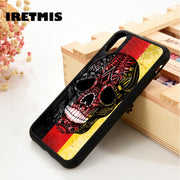 Iretmis 5 5S SE 6 6S Silicone Phone Case Cover For IPhone 7 8 Plus X Xs Max XR German Sugar Skull Flag Of Germany Stripe Tattoo