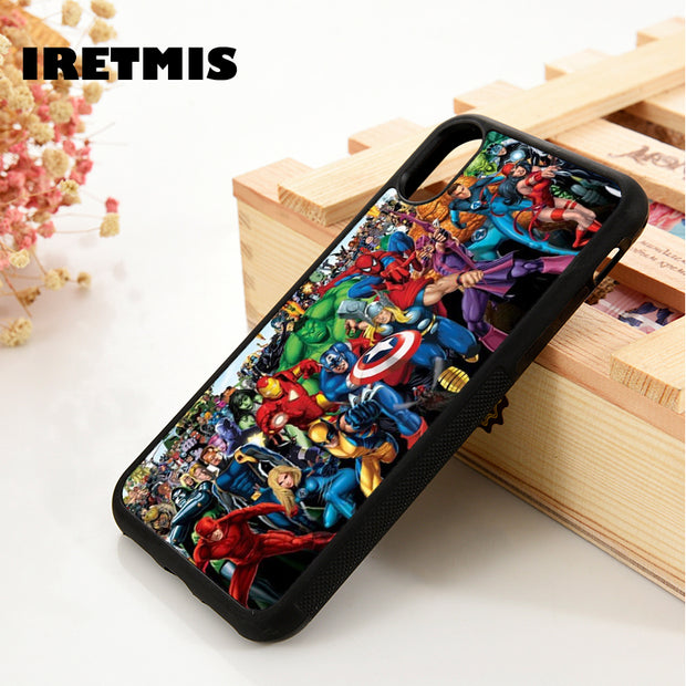 Iretmis 5 5S SE 6 6S Soft TPU Silicon Rubber Phone Case Cover For IPhone 7 8 Plus X Xs Max XR The Avengers Marvel X-Men Iron Man
