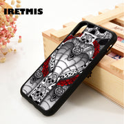 Iretmis 5 5S SE 6 6S Soft TPU Silicon Rubber Phone Case Cover For IPhone 7 8 Plus X Xs Max XR Snake Cobra Cross Skull Tattoo Art
