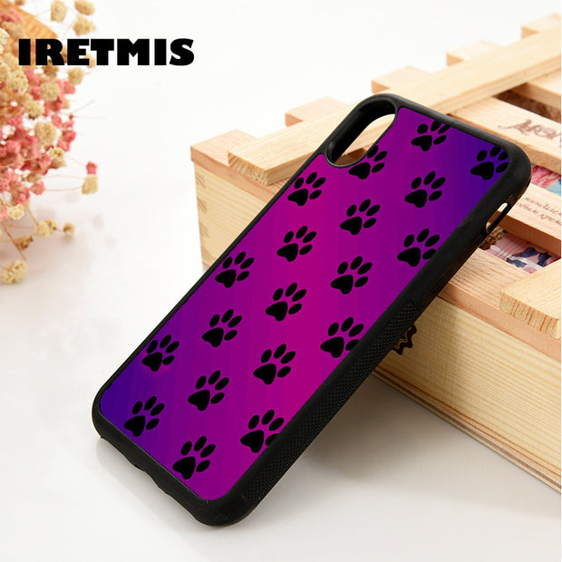 Iretmis 5 5S SE 6 6S Soft TPU Silicone Rubber Phone Case Cover For IPhone 7 8 Plus X Xs Max XR Paw Prints On Parade Purple