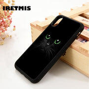 Iretmis 5 5S SE 6 6S Soft TPU Silicone Rubber Phone Case Cover For IPhone 7 8 Plus X Xs Max XR Black Cat Green Eyes