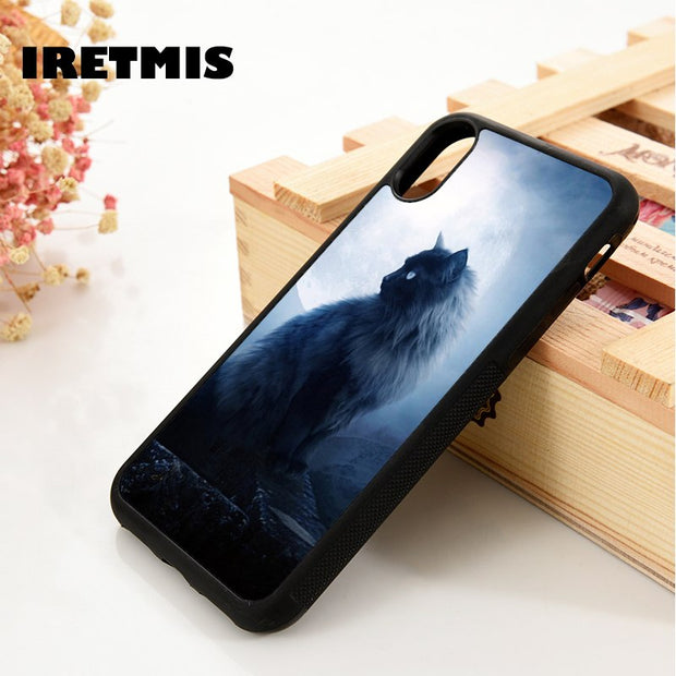 Iretmis 5 5S SE 6 6S Soft TPU Silicone Rubber Phone Case Cover For IPhone 7 8 Plus X Xs Max XR Black Cat Moon
