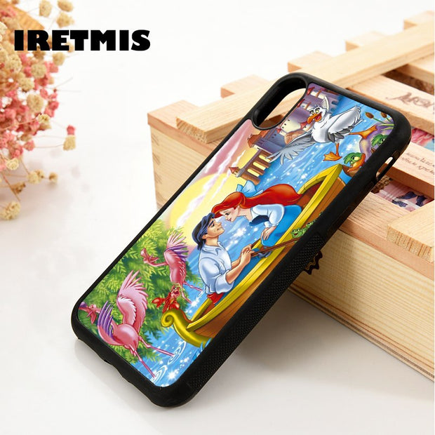 Iretmis 5 5S SE 6 6S Soft TPU Silicone Rubber Phone Case Cover For IPhone 7 8 Plus X Xs Max XR The Little Mermaid Kiss The Girl