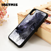 Iretmis 5 5S SE 6 6S Soft TPU Silicone Rubber Phone Case Cover For IPhone 7 8 Plus X Xs Max XR Black Snow Horse Art