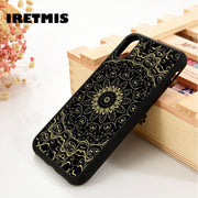 Iretmis 5 5S SE 6 6S Soft TPU Silicone Rubber Phone Case Cover For IPhone 7 8 Plus X Xs Max XR Black Mandala Henna Floral