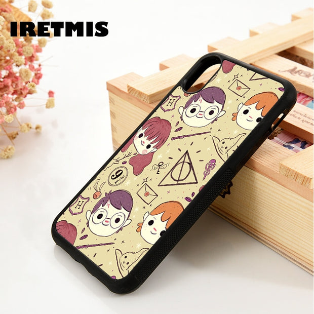 Iretmis 5 5S SE 6 6S Soft TPU Silicone Rubber Phone Case Cover For IPhone 7 8 Plus X Xs Max XR HARRY POTTER CARTOON PATTERN