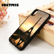Iretmis 5 5S SE 6 6S Soft TPU Silicone Rubber Phone Case Cover For IPhone 7 8 Plus X Xs Max XR Paris - Eiffel Tower At Sunset