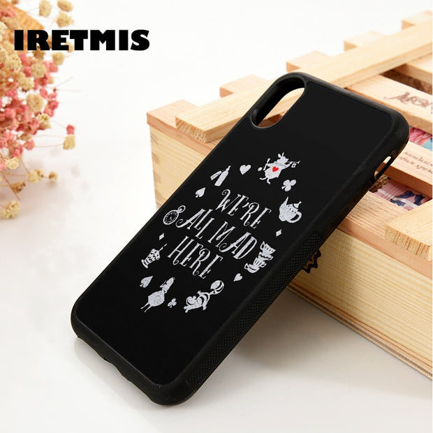 Iretmis 5 5S SE 6 6S Soft TPU Silicone Rubber Phone Case Cover For IPhone 7 8 Plus X Xs Max XR ALICE IN WONDERLAND PETER RABBIT