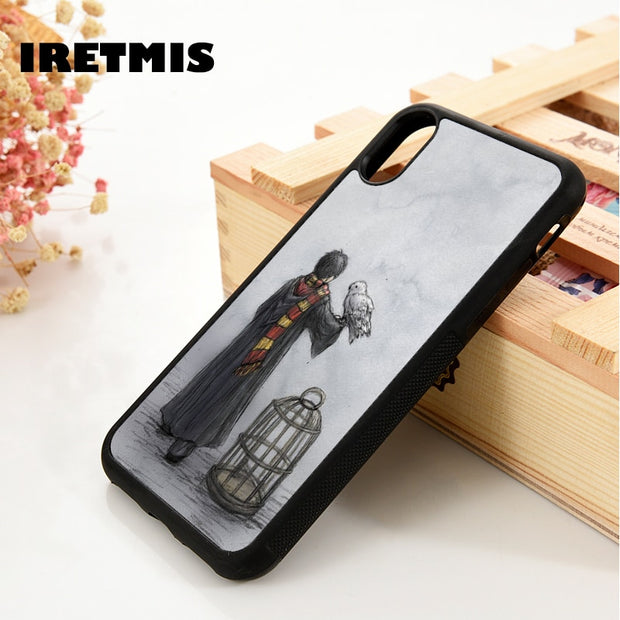 Iretmis 5 5S SE 6 6S Soft TPU Silicone Rubber Phone Case Cover For IPhone 7 8 Plus X Xs Max XR HARRY POTTER & HEDWIG ART