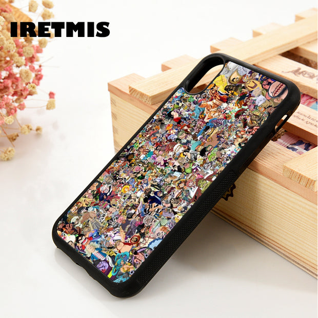 Iretmis 5 5S SE 6 6S Soft TPU Silicone Rubber Phone Case Cover For IPhone 7 8 Plus X Xs Max XR ONE PIECE ALL CHARACTERS