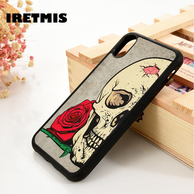 Iretmis 5 5S SE 6 6S Soft TPU Silicone Rubber Phone Case Cover For IPhone 7 8 Plus X Xs Max XR SKULL ROSE