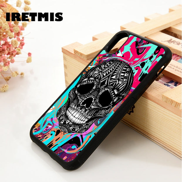 Iretmis 5 5S SE 6 6S Phone Case Cover For IPhone 7 8 Plus X Xs Max XR Sugar Skull Gothic Colourful Pattern Supernatural