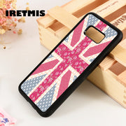 Iretmis S3 S4 S5 Silicon Phone Case Cover For Samsung Galaxy S6 S7 S8 S9 Edge Plus Note 3 4 5 8 9 Union Jack Flower Pattern Pink