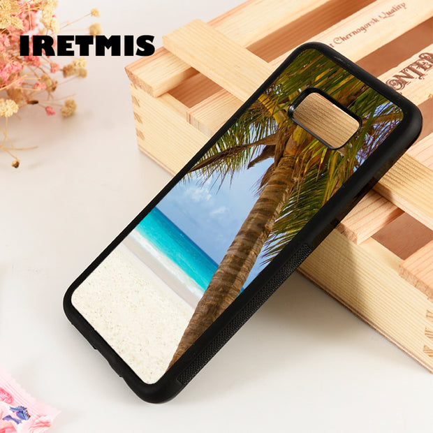 Iretmis S3 S4 S5 Silicon Phone Case Cover For Samsung Galaxy S6 S7 S8 S9 Edge Plus Note 3 4 5 8 9 Tropical Palm Tree Ocean Beach