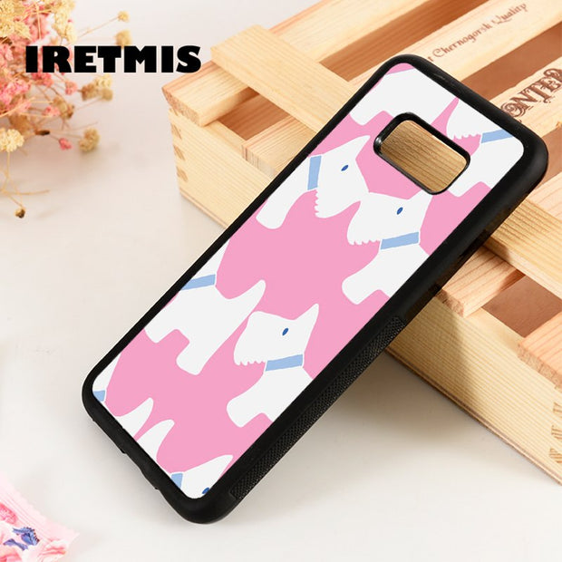 Iretmis S3 S4 S5 Silicone Rubber Phone Case Cover For Samsung Galaxy S6 S7 S8 S9 Edge Plus Note 3 4 5 8 9 Scottish Terriers Pink