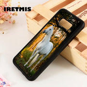 Iretmis S3 S4 S5 Silicone Rubber Phone Case Cover For Samsung Galaxy S6 S7 S8 S9 Edge Plus Note 3 4 5 8 9 BEAUTIFUL WHTE HORSE