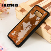 Iretmis S3 S4 S5 Silicone Phone Case Cover For Samsung Galaxy S6 S7 S8 S9 Edge Plus Note 3 4 5 8 9 World Map Globe Retro Pattern