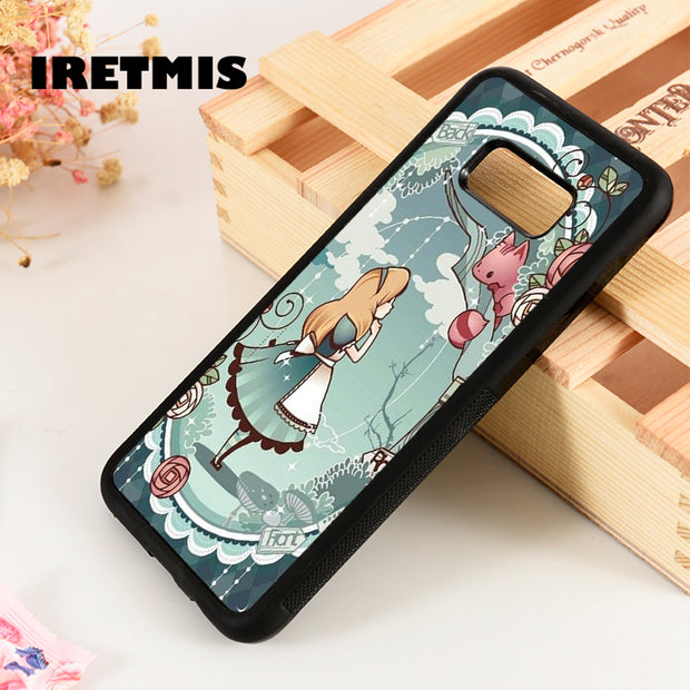 Iretmis S3 S4 S5 Silicone Phone Case Cover For Samsung Galaxy S6 S7 S8 S9 Edge Plus Note 3 4 5 8 9 Alice In Wonderland Blue