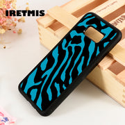 Iretmis S3 S4 S5 Silicone Phone Case Cover For Samsung Galaxy S6 S7 S8 S9 Edge Plus Note 3 4 5 8 9 Zebra Print Blue Snap On
