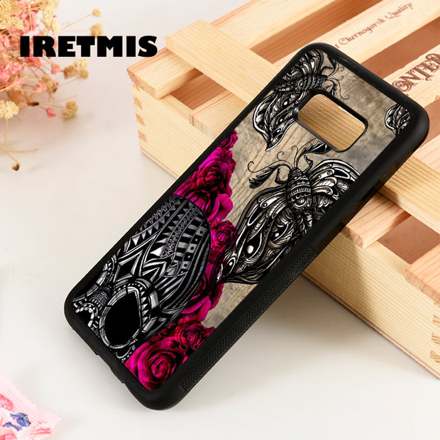 Iretmis S3 S4 S5 Silicone Phone Case Cover For Samsung Galaxy S6 S7 S8 S9 Edge Plus Note 3 4 5 8 9 Moth Skull Rose Graphic Art