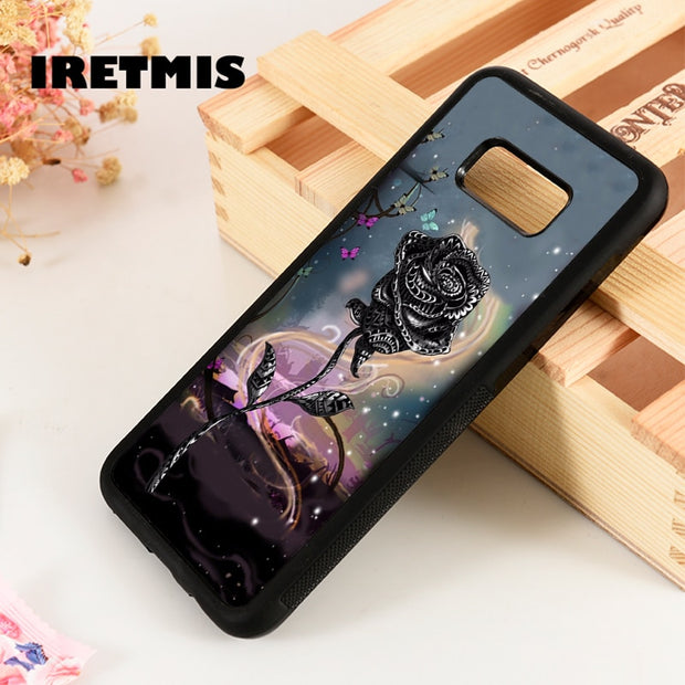 Iretmis S3 S4 S5 Silicone Phone Case Cover For Samsung Galaxy S6 S7 S8 S9 Edge Plus Note 3 4 5 8 9 Rose Floral Flower Pretty