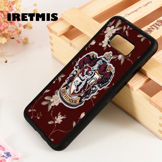 Iretmis S3 S4 S5 Phone Case Cover For Samsung Galaxy S6 S7 S8 S9 Edge Plus Note 3 4 5 8 9 HARRY POTTER GRYFFINDOR FLORAL