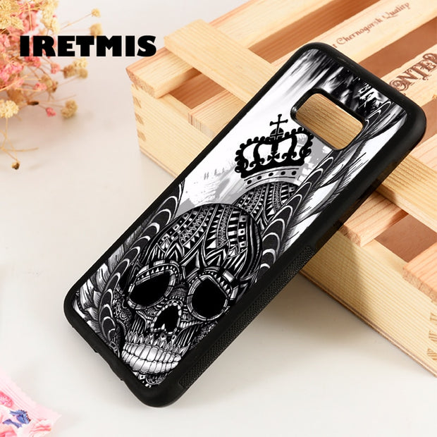 Iretmis S3 S4 S5 Phone Case Cover For Samsung Galaxy S6 S7 S8 S9 Edge Plus Note 3 4 5 8 9 Sugar Skull & Wings King Gothic Tattoo
