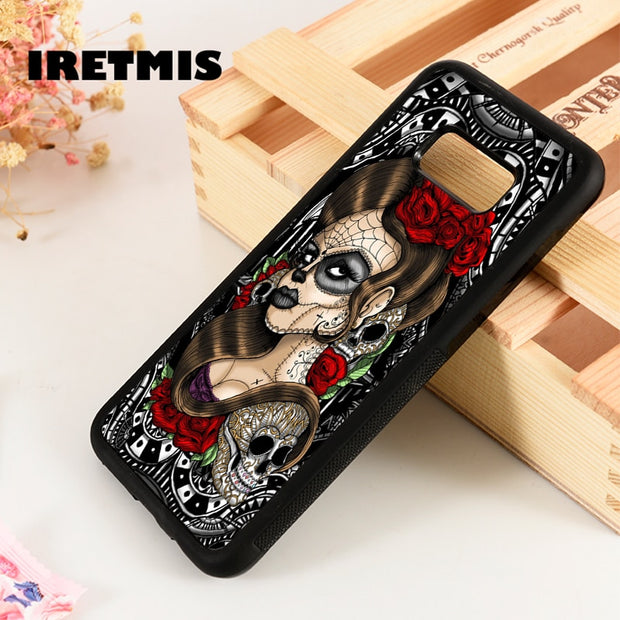Iretmis S3 S4 S5 Phone Case Cover For Samsung Galaxy S6 S7 S8 S9 Edge Plus Note 3 4 5 8 9 Sugar Skull Pin Up Girl Gothic Pattern