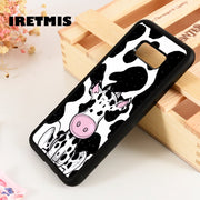 Iretmis S3 S4 S5 Phone Case Cover For Samsung Galaxy S6 S7 S8 S9 Edge Plus Note 3 4 5 8 9 Cow Cute Spot Cartoon Print Pattern