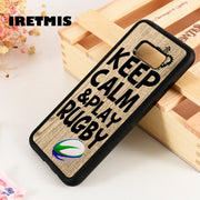 Iretmis S3 S4 S5 Phone Case Cover For Samsung Galaxy S6 S7 S8 S9 Edge Plus Note 3 4 5 8 9 Keep Calm & Play Rugby Ball Art Phrase