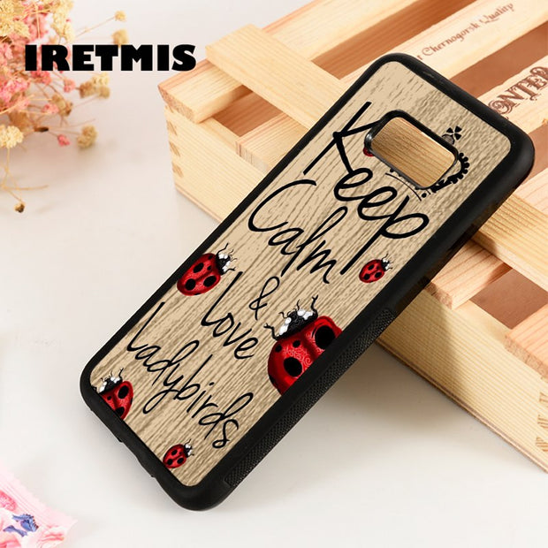 Iretmis S3 S4 S5 Phone Case Cover For Samsung S6 S7 S8 S9 Edge Plus Note 3 4 5 8 9 Keep Calm & Love Ladybirds Cute Graphic Quote