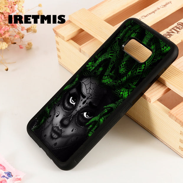 Iretmis S3 S4 S5 Phone Case For Samsung Galaxy S6 S7 S8 S9 Edge Plus Note 3 4 5 8 9 Medusa Snake Head Gorgan Girl Tattoo Skull