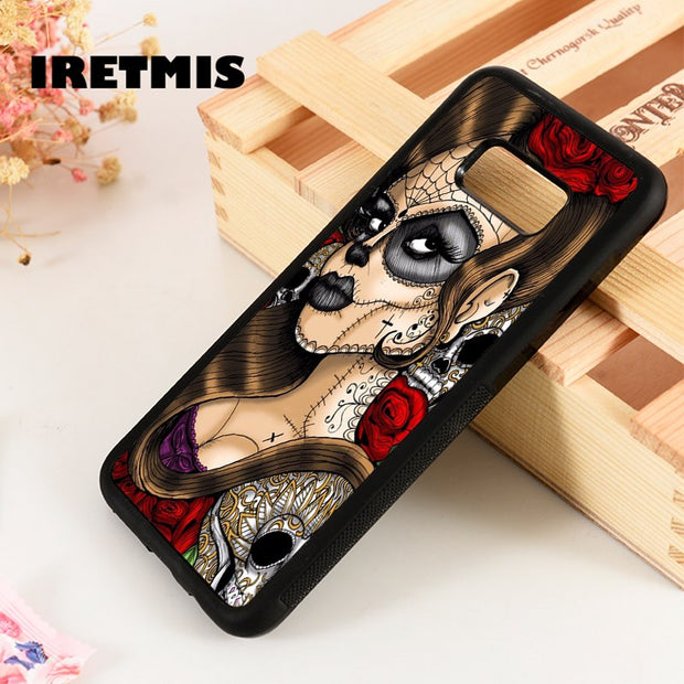 Iretmis S3 S4 S5 Phone Case For Samsung Galaxy S6 S7 S8 S9 Edge Plus Note 3 4 5 8 9 Sugar Skull Rose Girl Art Day Of The Dead