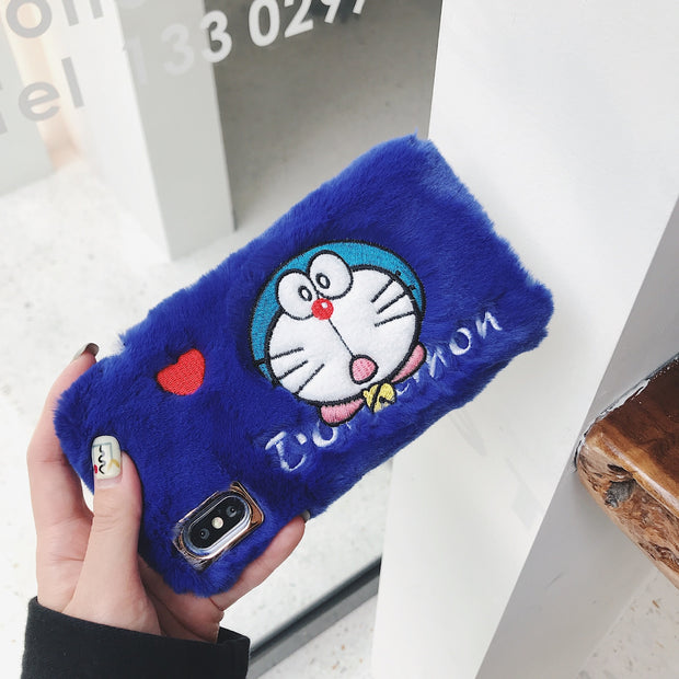 JAMULAR Cute Plush Embroidery Phone Case For IPhone X XS MAX XR 7 6 6s 8 Plus Cartoon Doraemon Soft Back Cover For IPhone 8 Capa